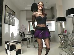 Sexy Brunette in Fishnet Stockings Shows Her Shaved Pussy tube porn video