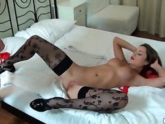 A Cute Girl In Red Lingerie and Black Floral Stockings Goes Hardcore tube porn video