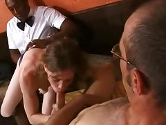 British stud Omar joins a couple in a cafe for a threesome tube porn video