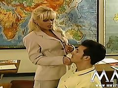 Sexy blonde teacher seducing her student in class tube porn video