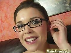 Katie Thomas sharing a cock and taking a huge facial tube porn video