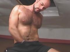 Hairy gay is wanking his hard dick tube porn video