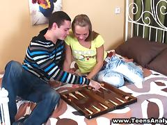 A teen couple have a wild anal sex after playing backgammon tube porn video
