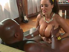 Huge breasted Lisa Ann gives a handjob and a titjob tube porn video