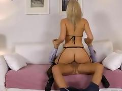 Euro babe in stockings rides the old man tube porn video