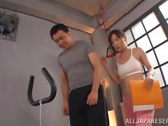 A hot Japanese girl in a sportswear rides a dick in a gym tube porn video