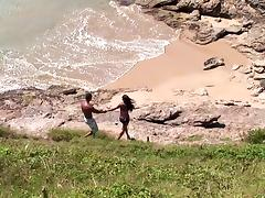 Simone lets a black stud rip her pussy apart on a beach tube porn video