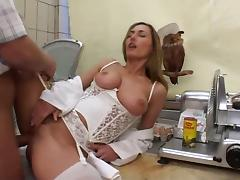 Mature white stockings and corset tube porn video