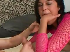 Sexy chick in stockings fucks with two cocks tube porn video
