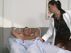 Nice Doctor Gives Her Patient a Handjob and Rides Cowgirl Style tube porn video