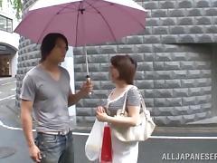 A chubby Japanese MILF gets fucked on an armchair tube porn video