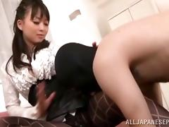 Japanese babe in sexy pantyhose has surprise for her guy tube porn video