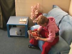 Redhead teen slobbers on a jock in shaving salon tube porn video