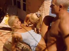Grandpa fucks two hot blondes tube porn video