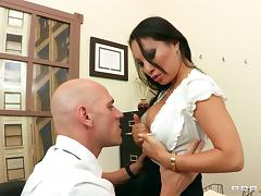 Asa Akira lets Johnny Sins lick and fuck her Asian cunt in an office tube porn video