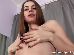 Horny Sasha Ksu drills her pussy with a cucumber tube porn video