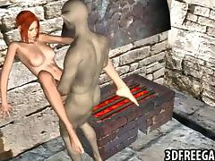 3D redhead fucked by a goblin tube porn video