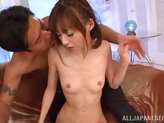 Skinny Japanese chick gets her hairy pussy banged from behind tube porn video