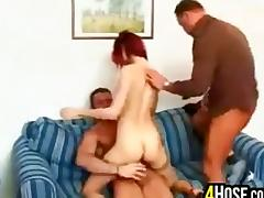 Sexy Redhead In A Threesome tube porn video
