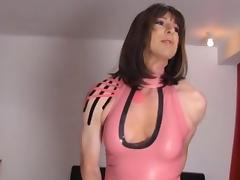 Crossdresser slut wanks her big cock as hot femdom Strapon Jane fucks her tight ass tube porn video