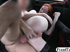 Big boobs redhead in glasses banged in the backseat tube porn video