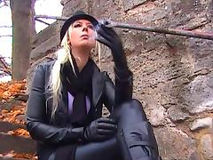 Smoking in Leather tube porn video