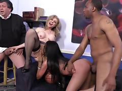Nina Hartley and Raven Bay enjoy ardent interracial foursome banging tube porn video