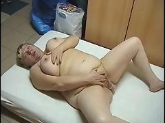 BBW blonde granny masturbating. tube porn video