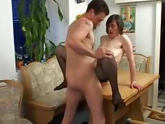 Beauty mom with big saggy tits, hairy cunt & guy tube porn video