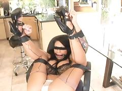 Mason Moore gets blind folded for a big black cock fuck tube porn video