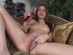Jassie shows her pierced nipples and shaved coochie tube porn video