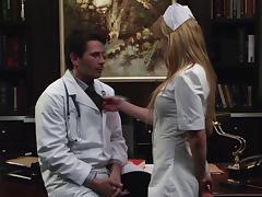 Lovely porn hottie Kayden Kross in nurse uniform sucks a horny physician tube porn video