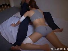 Japanese babe in panties gets pussy banged in prison cell tube porn video