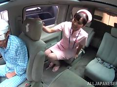 Naughty hot ass nurse starts sucking cock on the back seat tube porn video