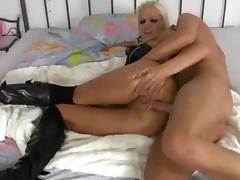 German blonde in high boots sucking and anal tube porn video