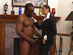 Black guy gives a white MILF a face fucking then drills her pussy tube porn video