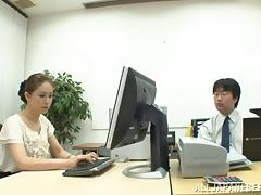 Asian couple have hot sex in the office and enjoy asslicking tube porn video