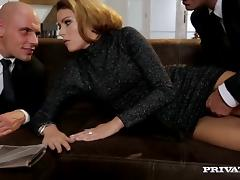 Hot blowjob scene with a naughty porn hottie Samantha Joons in fuck threesome tube porn video