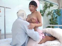 Angelic nurse with big tits in uniform awarding massive dick with superb titjob tube porn video