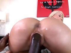Gorgeous cougar takes on a big black tool tube porn video