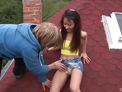 Crazy, daring amateurs fuck on the roof an all over the outdoors tube porn video