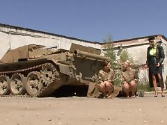 Two sexy military women have a lesbian hook up while in uniform tube porn video