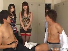 Japanese girls in stockings are involved in locker room group sex tube porn video