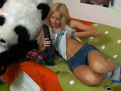 Dirty blonde sucks and rides a funny sex toy tube porn video