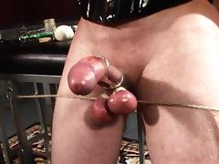 Ardent blonde pornstar with big tits delivering a ball busting torture to an enslaved dude in BDSM tube porn video