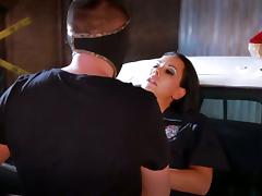 A cop fucks a sexy, busty babe on the hood of his patrol car tube porn video